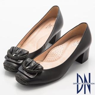 【DN】都會優雅  全真皮素面簡約飾扣低跟鞋(黑)