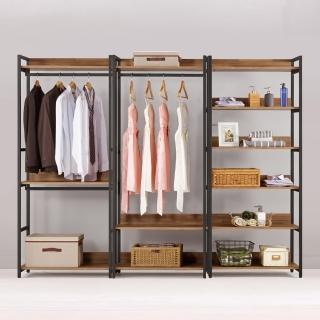 【BODEN】諾德8尺開放式組合衣櫃(雙吊+單桿+多層收納)