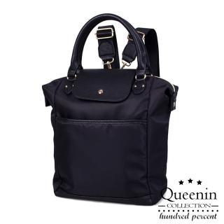 【DF Queenin】日系輕尼龍款皮飾2way手提後背包-共3色