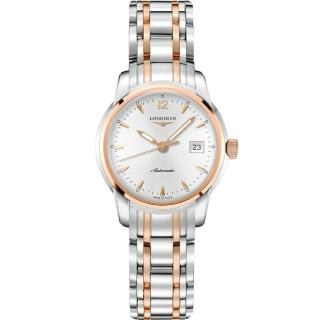 【LONGINES】浪琴 Saint-Imier 大三針機械女錶-銀x雙色版/30mm(L25635727)