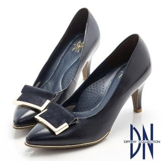【DN】高貴優雅  柔軟羊漆皮金屬飾扣尖頭跟鞋(藍)
