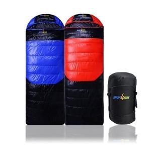 冬季睡袋-藍黑 紅黑兩色拆帽可拼接