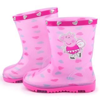 【童鞋城堡】粉紅豬小妹 中童 愛心塗鴉雨鞋(PG8544-粉)