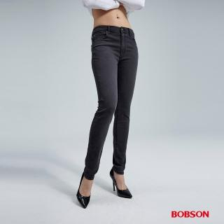 【BOBSON】女款高腰強彈力小直筒褲(黑8133-88)