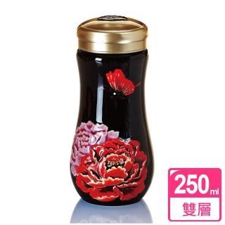 【乾唐軒活瓷】盛世牡丹隨身杯 / 黑彩 / 大 / 雙層