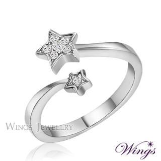 【WINGS】星願 纖細美麗的優雅 精鍍白K金戒指 聖誕(可做尾戒)