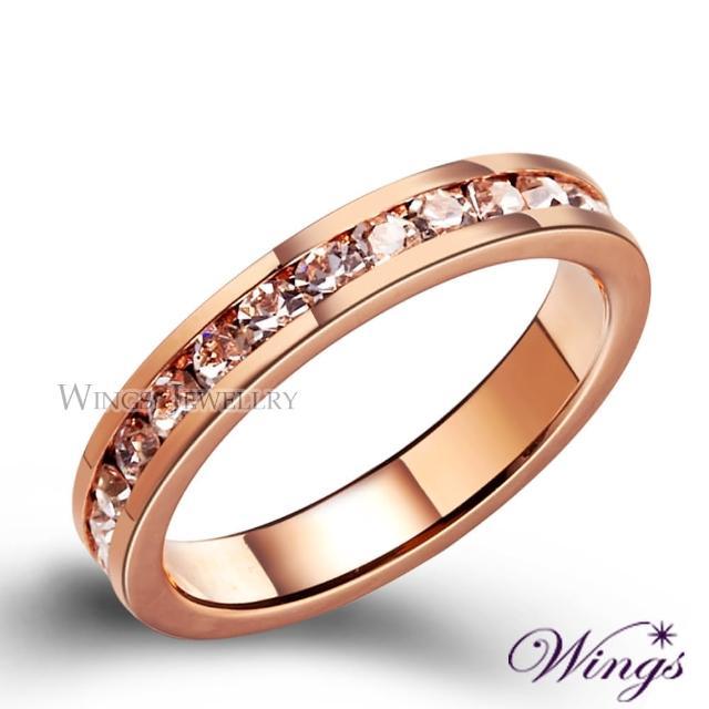 【WINGS】玫瑰銀河 亮眼時尚設計經典線戒款式(可做尾戒 對戒)