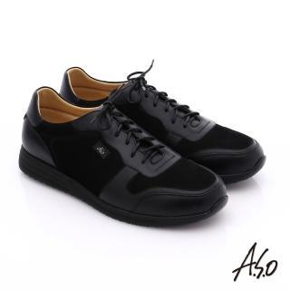 【A.S.O】輕量抗震 牛皮拼接綁帶氣墊休閒鞋(黑)