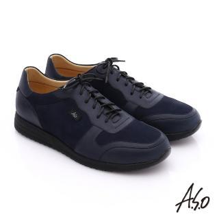 【A.S.O】輕量抗震 牛皮拼接綁帶氣墊休閒鞋(藍)