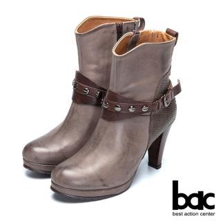【bac】歐風時尚 異材拼接鉚釘高跟短靴(灰色)