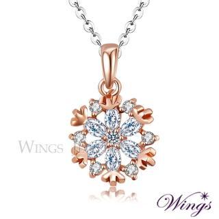 【WINGS】幸福雪花 精鍍玫瑰金璀璨方晶鋯石項鍊 聖誕(雪花 雪)