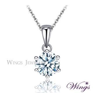 【WINGS】經典六爪鑲 八心八箭單顆美鑽完美方晶鋯石項鍊 聖誕(墜子 吊墜 擬真鑽)