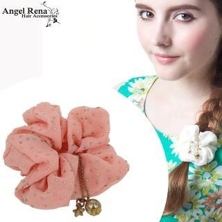 【Angel Rena】雪紡點點星星金珠垂墜髮束(粉紅)
