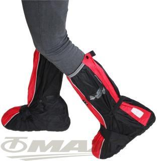 【天龍牌】疾風賽車型強韌厚底雨鞋套-紅黑
