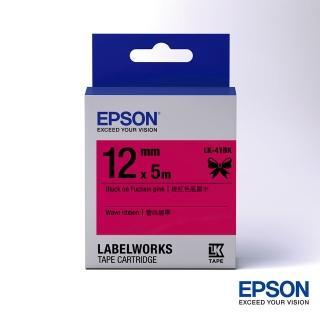 【EPSON】標籤帶 蕾絲緞帶粉紅色底黑字/12mm(LK-41BK)