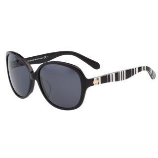 【Kate Spade】-圓面 黑白條紋 太陽眼鏡(黑色)