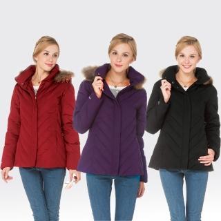 【SAMLIX山力士】JIS90%女防潑水保暖羽絨外套#37912(黑色.紫色.紅色)