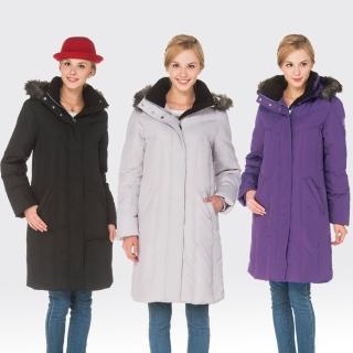 【SAMLIX山力士】JIS90%女防潑水保暖羽絨大衣外套#33411(黑色.紫色.灰色)