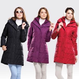 【SAMLIX山力士】JIS90%女防潑水保暖羽絨外套#333(紅色.黑色.紫色)