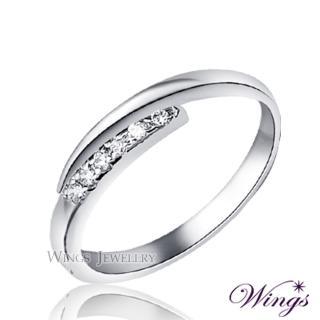 【WINGS】星盼 纖細美麗的優雅 精鍍白K金戒指 尾戒 聖誕(可做尾戒 對戒)