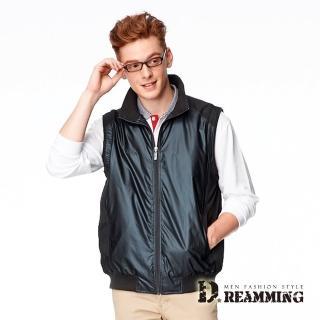 【Dreamming】歐規時尚皮感百搭立領背心外套(黑色)