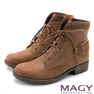【MAGY瑪格麗特】街頭率性簡約 嚴選牛皮帥氣綁帶短靴(棕色)