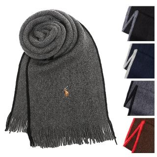 【RALPH LAUREN POLO】RL雙色邊保暖美麗諾羊毛圍巾(6F0550)