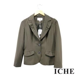 【ICHE 衣哲】百搭荷葉翻領造型綠西裝外套