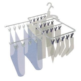 【日本AISEN】通風機能6段式30夾鋁合金曬衣架(藍色曬夾)