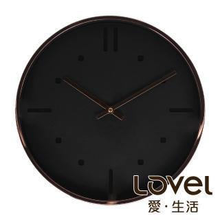 【LOVEL】30cm Rose Gold靜音機芯壁掛時鐘-黑(M721RY-BK)