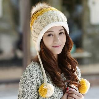 【幸福揚邑】雙吊球造型雙層保暖護耳小顏拚色毛球針織毛線帽-黃