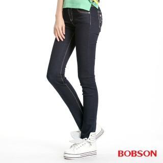 【BOBSON】女款超彈力貼腿小直筒褲(藍8028-52)