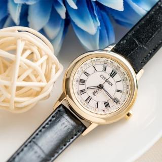 【CITIZEN 星辰】電波藍寶鈦時尚光動能腕錶-皮錶帶(EC1142-05B)