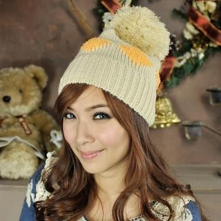【Lady c.c.】雙色菱格格大球球針織毛帽(米)