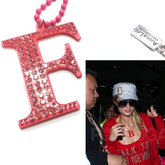 【Anna Lou Of London】倫敦品牌 水晶字母項鍊 F 粉紅色X銀鍊(絕版品 售完不補)