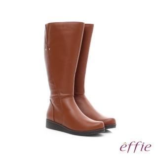【effie】保暖靴 真皮側拉鍊舒適奈米長靴(茶)