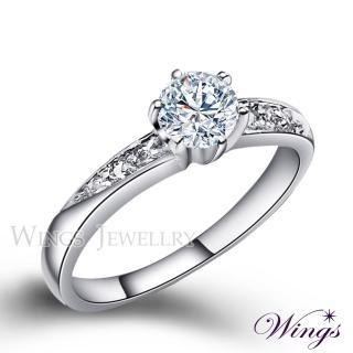 【WINGS】頂級八心八箭 雅緻時尚款 方晶鋯石美鑽戒指 聖誕(女戒 鋯鑽 擬真鑽 單鑽)