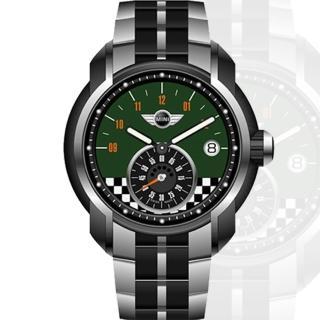 【MINI Swiss Watches】賽車競速旗幟鋼帶腕錶(45mm/MINI-49ES)