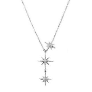 【apm MONACO】法國精品珠寶  閃耀銀色三繁星鑲鋯可調整長項鍊(AC3350OX)