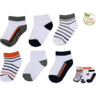 【美國 luvable friends】嬰兒襪/寶寶襪/初生襪 6入組_橘黑條紋(90411)