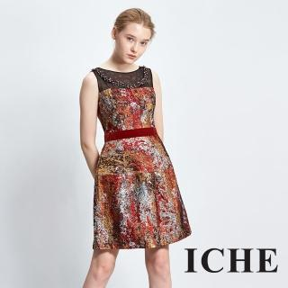 【ICHE 衣哲】3D立體提花高級訂製感紅禮服洋裝