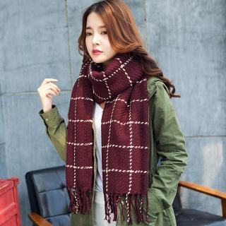 【幸福揚邑】韓版冬季經典百搭情侶粗毛線格子加長披肩圍巾(酒紅)