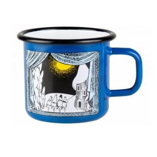 【芬蘭Muurla】嚕嚕米系列-嚕嚕米峽谷的冬天琺瑯馬克杯370cc-藍色(咖啡杯/琺瑯杯)