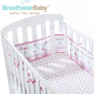 【英國 BreathableBaby】透氣嬰兒床圍 全包型(18430森林花園款)
