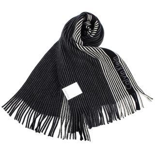【Calvin Klein】直條紋雙面針織流蘇圍巾(黑/ 米白色)