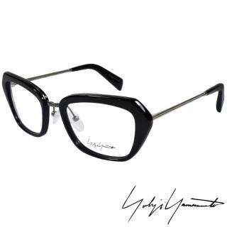 【Yohji Yamamoto 山本耀司】時尚斜方框金屬混搭造型光學眼鏡(黑 YY1005-019)