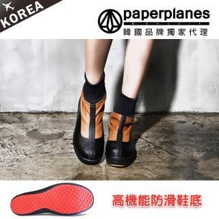 【PAPERPLANES韓國雨靴】正韓製/版型正常。高機能防滑防刮性格縮口短靴(7-201051咖啡/現貨)