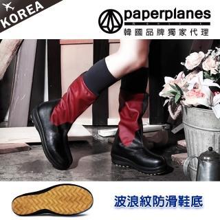 【PAPERPLANES韓國雨靴】正韓空運。舒適輕量防滑防刮縮口中筒靴(7-201060暗紅/現貨)