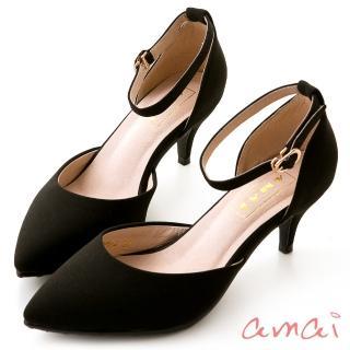 【amai】撞色尖頭側空繫帶低跟鞋(黑)