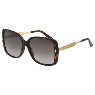 【GUCCI】-皇室風格紋路 太陽眼鏡(琥珀色)